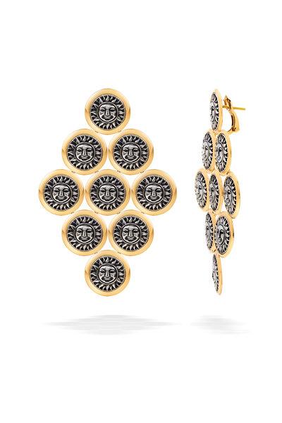 Marina B - Yellow Gold & Silver Large Soleil Kite Earrings