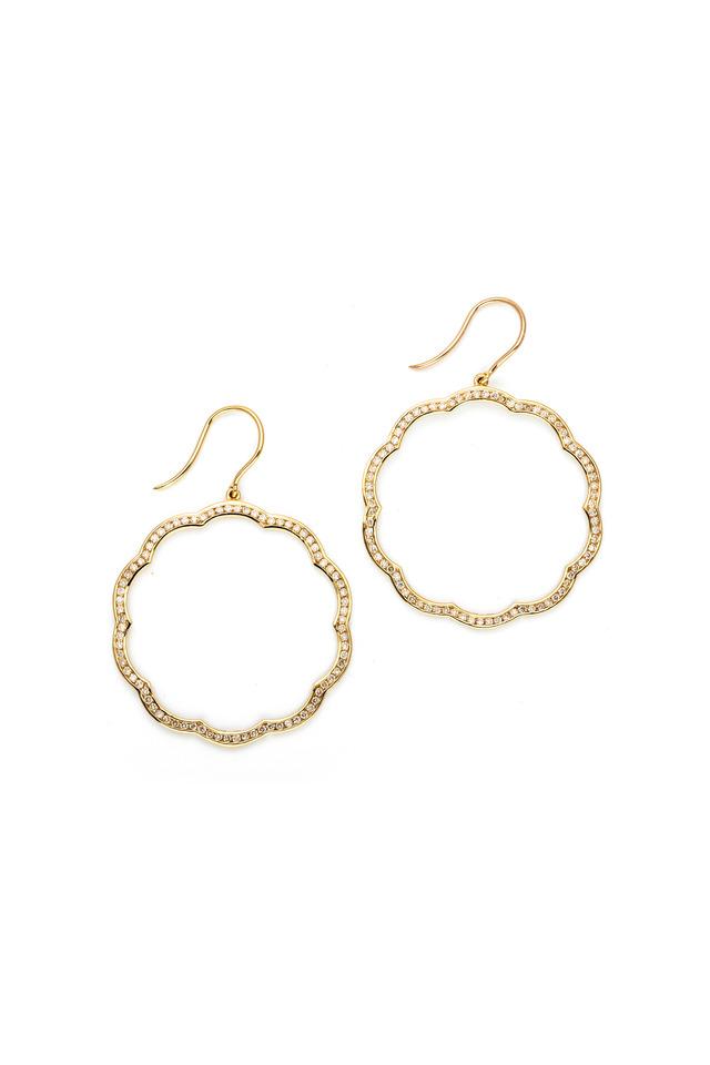 Mogul Flower Gold Diamond Trim Earrings
