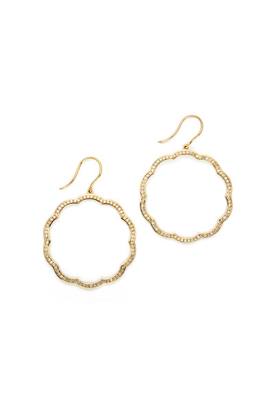 Syna - Mogul Flower Gold Diamond Trim Earrings