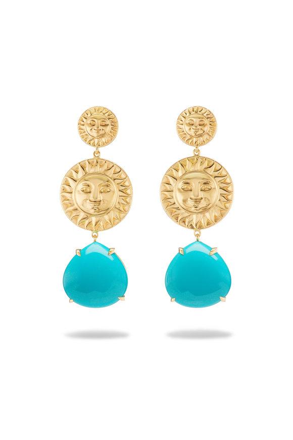 Marina B Yellow Gold Turquoise Paula Soleil Earrings