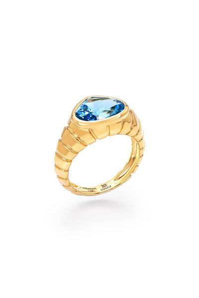 Marina B - Yellow Gold Blue Topaz Timo Ring