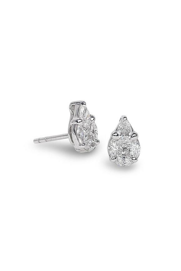 Nam Cho White Gold Medium Invisible Diamond Studs