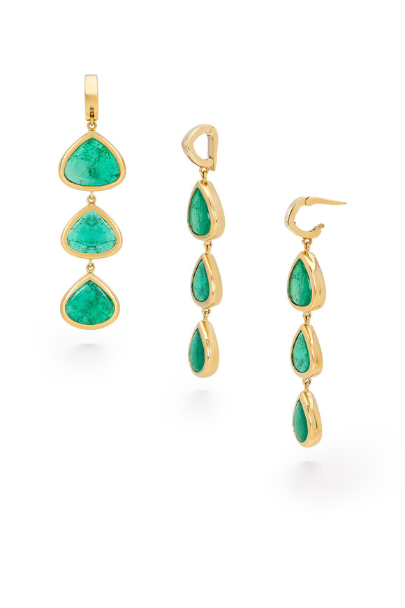 Marina B Yellow Gold Trisolina Emerald Triple Drop Earrings