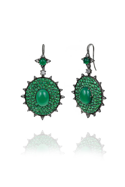 Nam Cho - White Gold Bullseye Emerald & Diamond Earrings