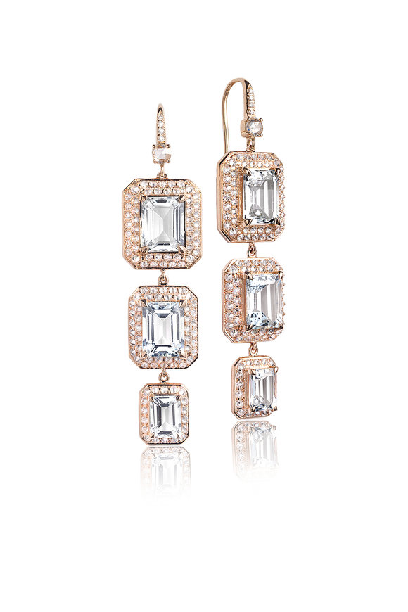 Nam Cho Rose Gold Triple Octagon Drop Earrings