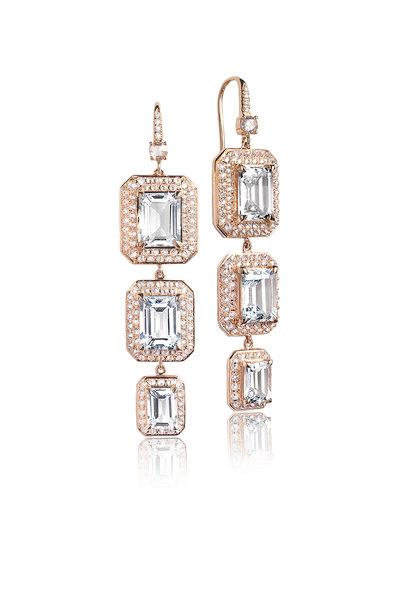 Nam Cho - Rose Gold Triple Octagon Drop Earrings