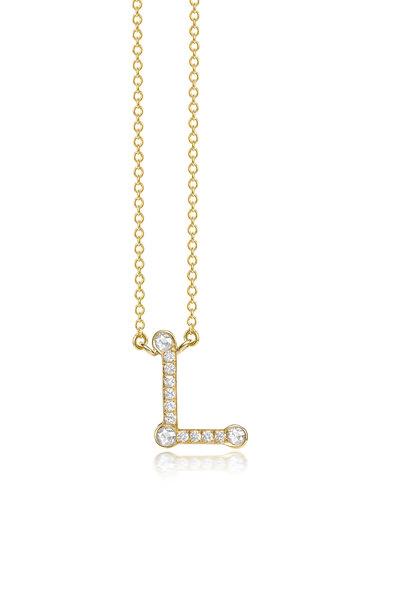 "Nam Cho - Yellow Gold Diamond Alphabet ""L"" Necklace"
