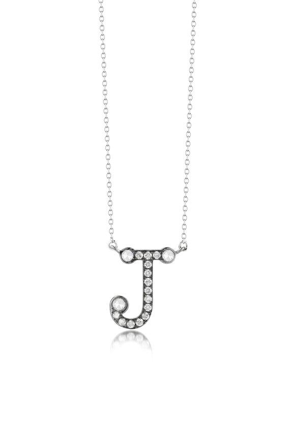 "Nam Cho White Gold Diamond Alphabet ""J"" Necklace"