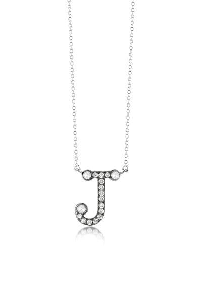 "Nam Cho - White Gold Diamond Alphabet ""J"" Necklace"