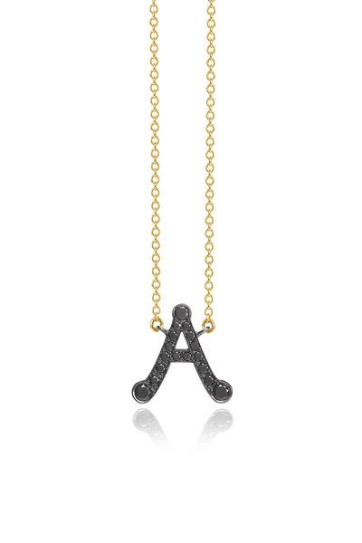 "Nam Cho - Yellow Gold Black Diamond Alphabet ""A"" Necklace"