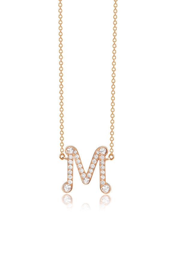 "Nam Cho Rose Gold Diamond Alphabet ""M"" Necklace"