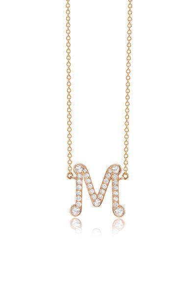 "Nam Cho - Rose Gold Diamond Alphabet ""M"" Necklace"