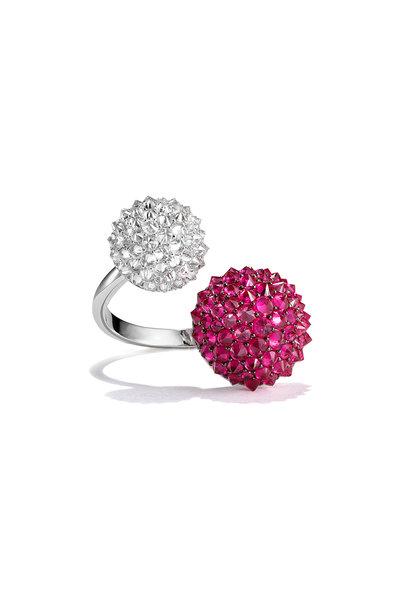 Nam Cho - White Gold Double Ball Ruby & Ice Diamond Ring