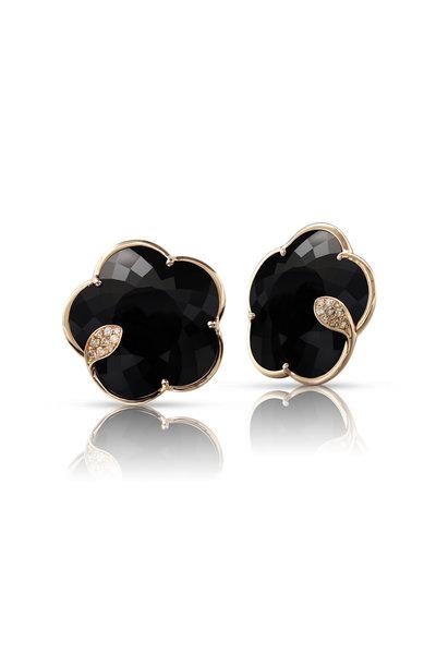 Pasquale Bruni - Rose Gold Ton Joli Black Flower Earrings