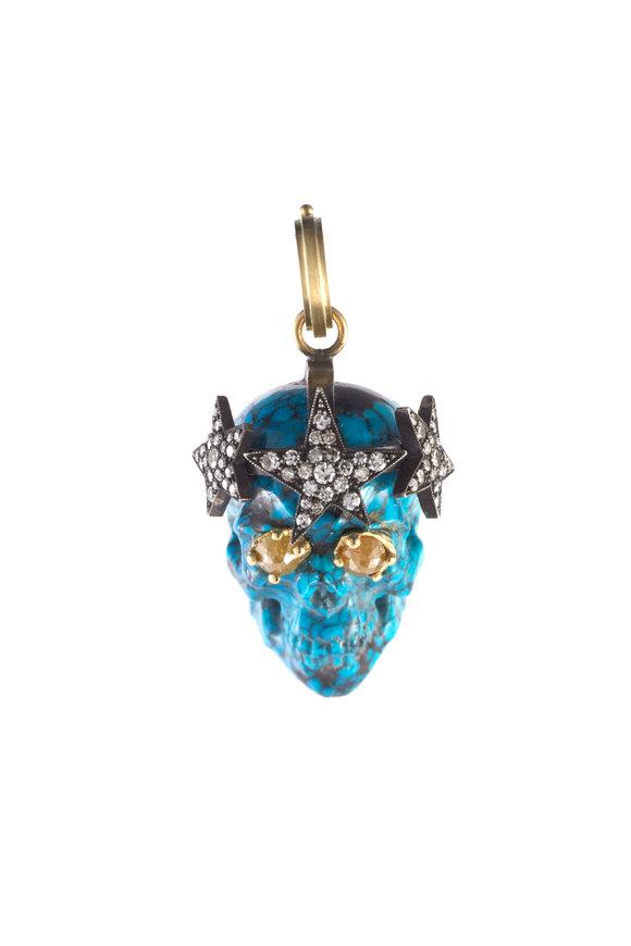 Sylva & Cie Super Star Turquoise Skull Pendant