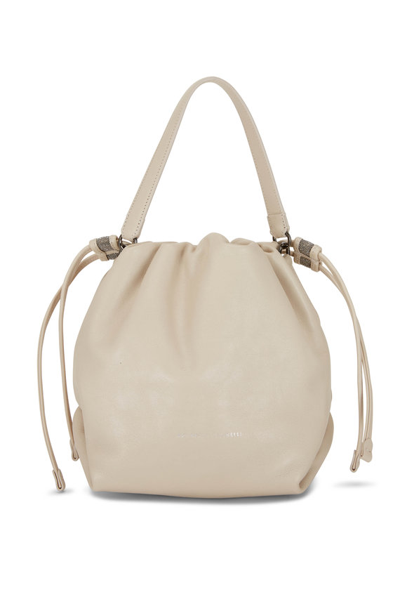 Brunello Cucinelli Rice Leather Small Drawstring Hobo Crossbody