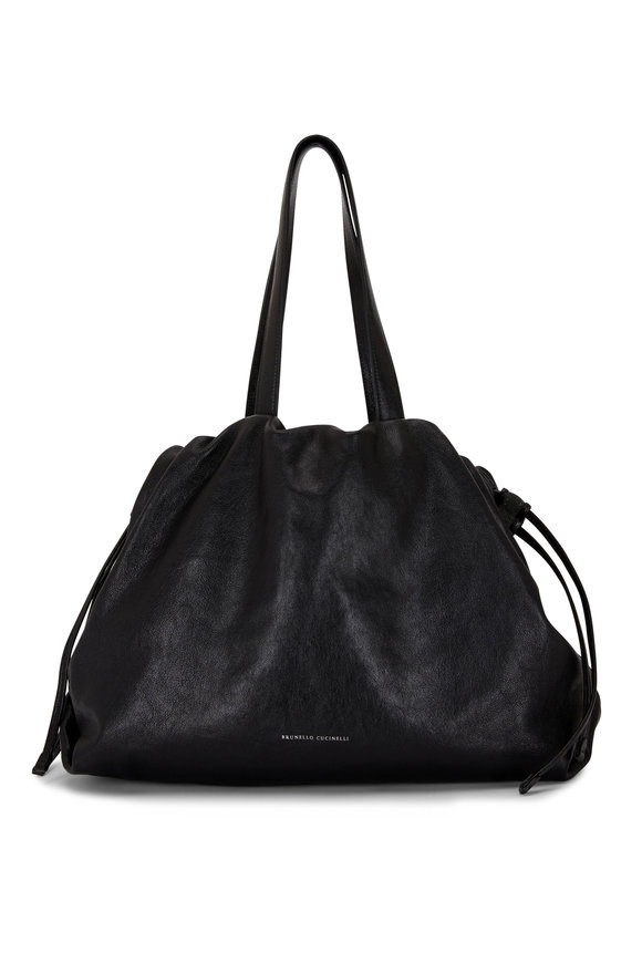 Brunello Cucinelli Black Leather Drawstring Hobo Bag