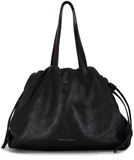Brunello Cucinelli Black Leather Drawstring Hobo Bag