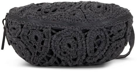 Brunello Cucinelli Charcoal Gray Crochet Cashmere Belt Bag