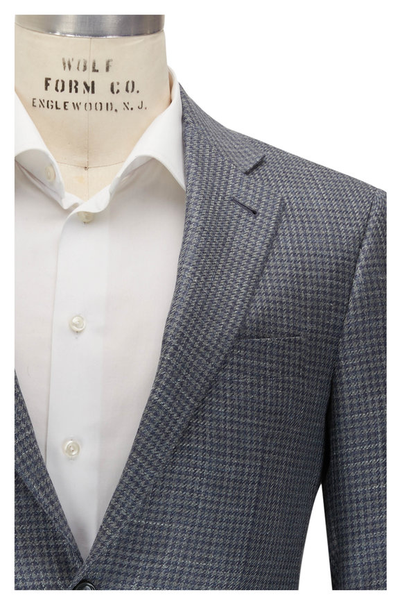 Canali Kei Olive & Blue Houndstooth Sportcoat