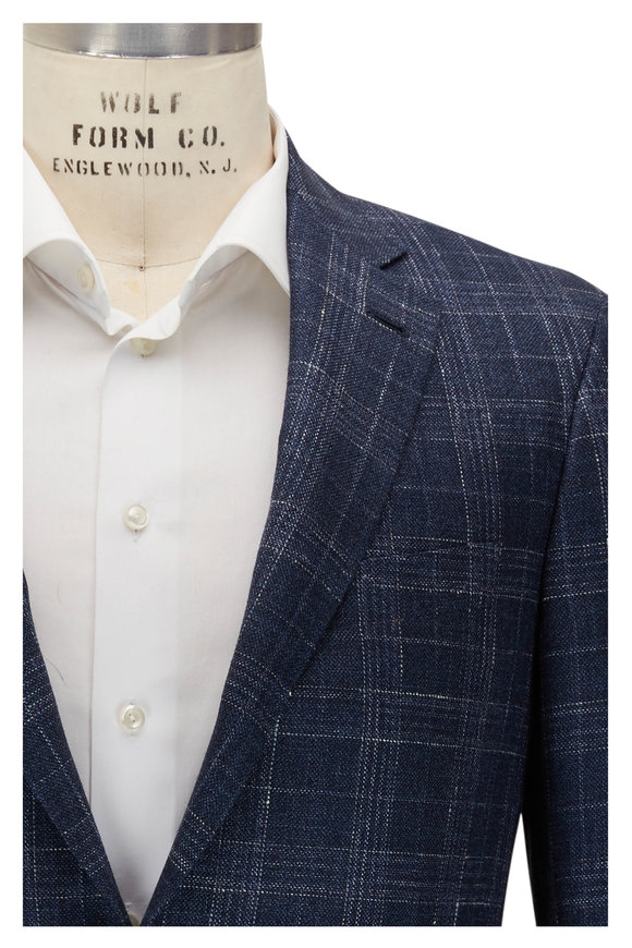 Canali Kei Navy & White Plaid Sportcoat