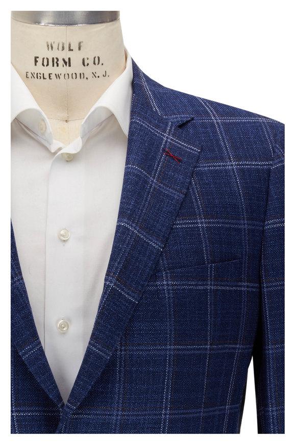 Samuelsohn Navy Blue Windowpane Wool & Silk Sportcoat