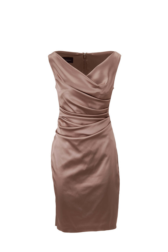 Talbot Runhof Komoe9 Sand Satin Sleeveless Cocktail Dress