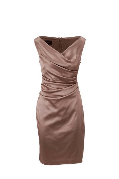 Talbot Runhof - Komoe9 Sand Satin Sleeveless Cocktail Dress