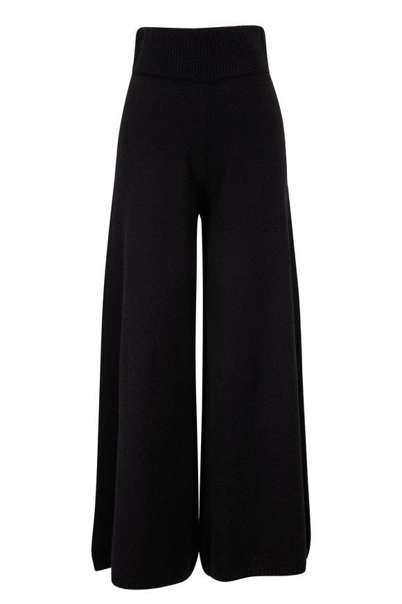 Khaite Rachelle Black Medium Weight Cashmere Pant