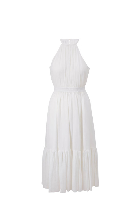 Michael Kors Collection Optic White Halter Sleeveless Ruffle Dress
