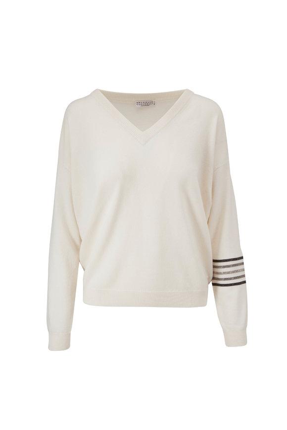 Brunello Cucinelli White 2-Ply Cashmere Stripe V-Neck Sweater