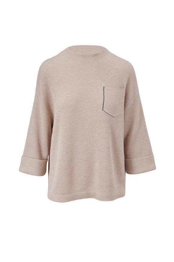 Brunello Cucinelli Oyster Ribbed Cotton Crewneck Sweater
