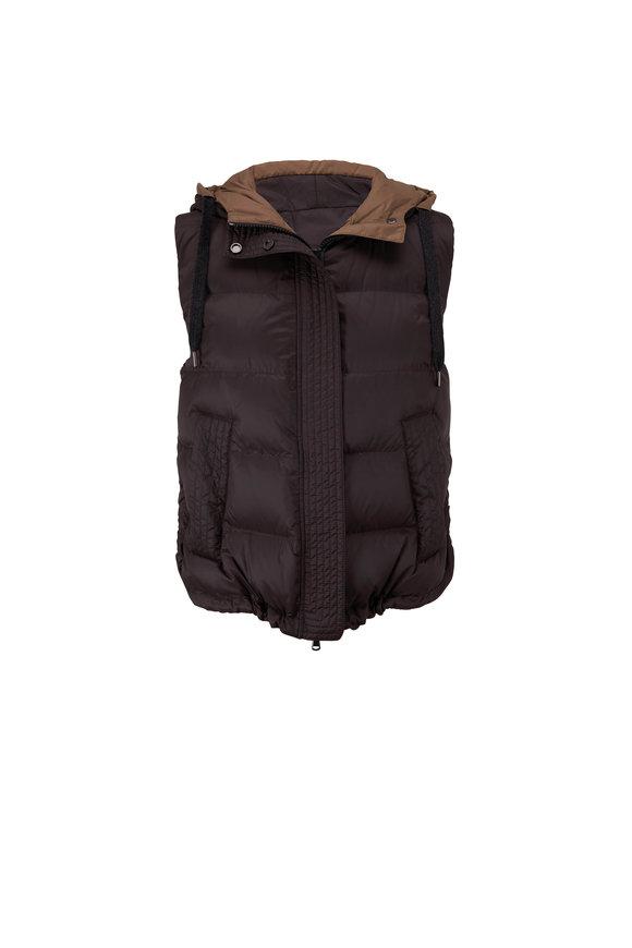 Brunello Cucinelli Carbon Nylon Hooded Puffer Vest