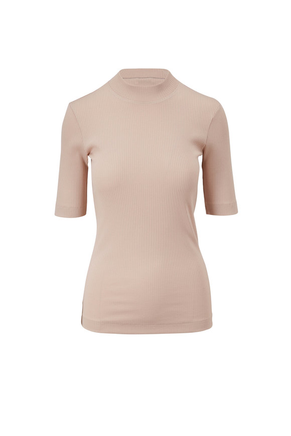 Brunello Cucinelli Blush Dry Cotton Ribbed Elbow Sleeve Top