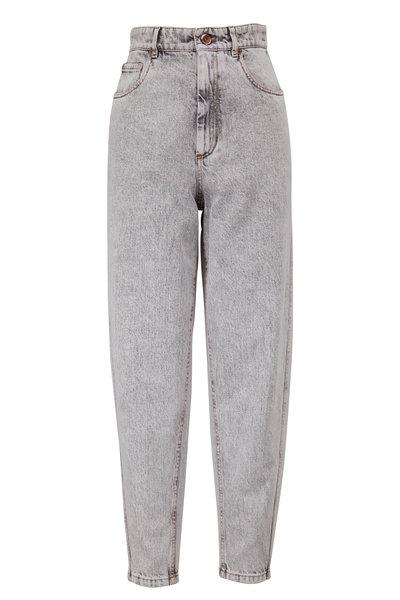 Brunello Cucinelli - Gray Stonewash High-Rise Curved Jean