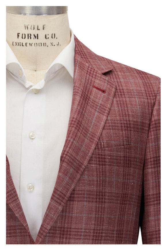 Canali Kei Red & Blue Glen Plaid Sportcoat