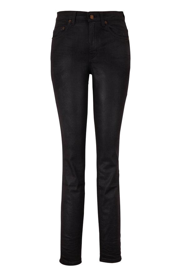 Saint Laurent Black Coated Stretch Denim Jean
