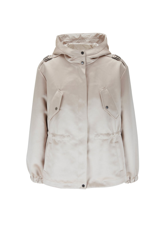 Brunello Cucinelli Ash Rose Techno Duchess Satin Hooded Jacket