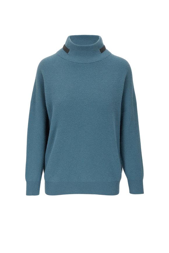 Brunello Cucinelli Green Cashmere English Rib Mockneck Sweater