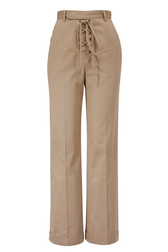 Saint Laurent Sahara Cotton Lace Front Pant