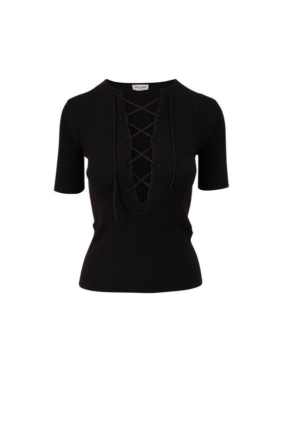 Saint Laurent Black Wool, Cashmere & Silk Lace-Up Top