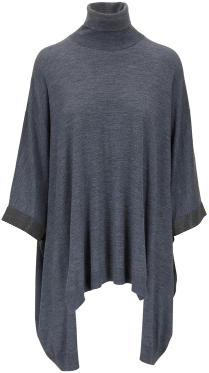 Brunello Cucinelli Charcoal Gray Wool & Cashmere Turtleneck Poncho