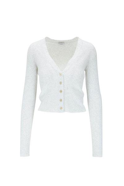 Brunello Cucinelli - White Cashmere Lurex Front Button Cardigan