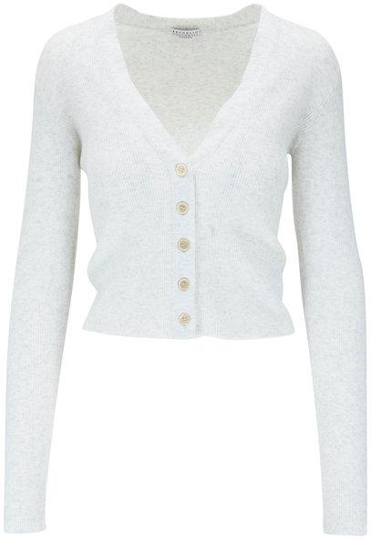 Brunello Cucinelli White Cashmere Lurex Front Button Cardigan