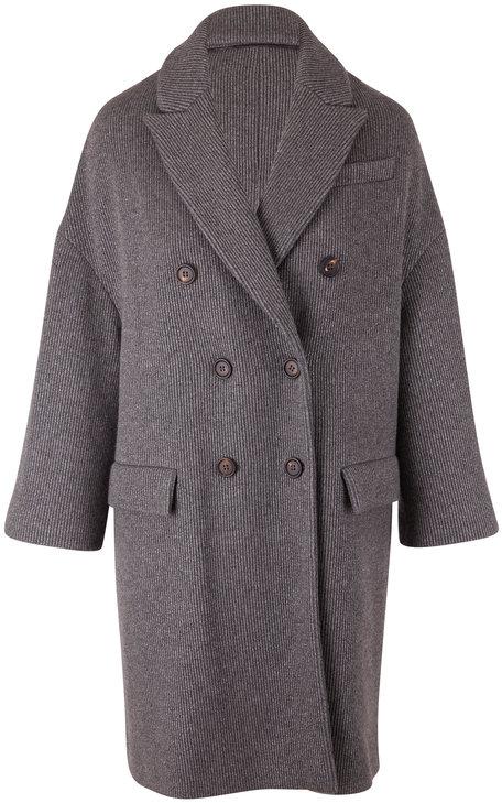 Brunello Cucinelli Charcoal Gray Cashmere English Rib Coat