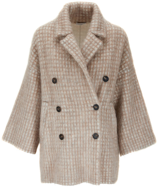 Brunello Cucinelli Rose Brushed Wool Mohair Printed Peacoat