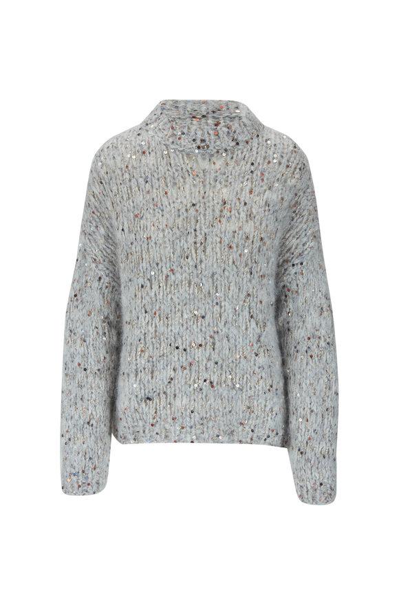 Brunello Cucinelli Pebble Mohair & Cotton Macro Paillette Pullover