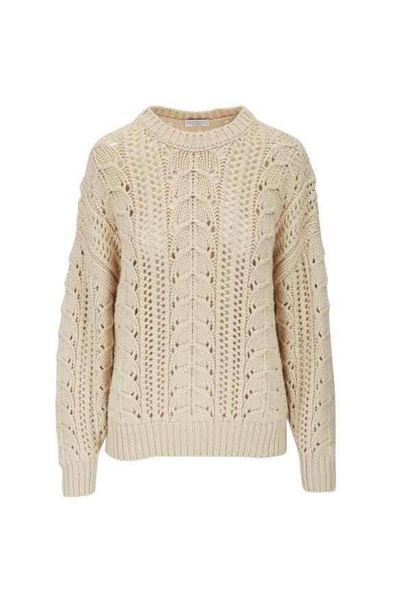 Brunello Cucinelli Butter Sparkling Open Weave Paillette Sweater