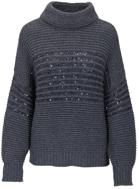 Brunello Cucinelli Charcoal Gray Paillette Stripe Sweater