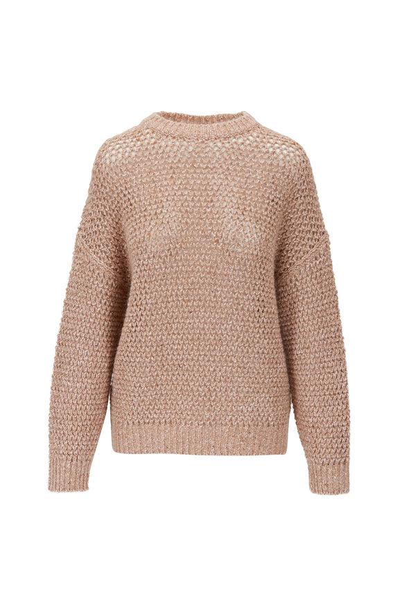 Brunello Cucinelli Antique Rose Netted Crewneck Lurex Sweater